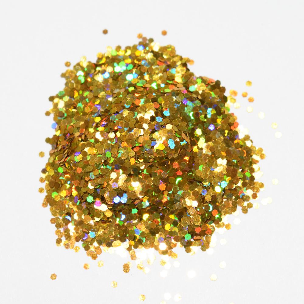Блеск, шестигранник, золото голография